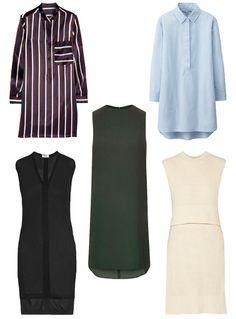 Shop stylish tunics, clockwise from top left: Uniqlo, $40, uniqlo.com; Adam Lippes, $1,190, net-a-porter.com; Topshop, $75, topshop.com; Helmut Lang, $140, net-a-porter.com; Joseph, $545, net-a-porter.com. #InStyle