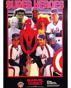 Spider-Man and his Amazing Friends with the New York Mets .a Captain America and the Hulk stoned out of his mind! New York Mets Baseball, Ny Mets, Hero Spiderman, Superhero, Marvel Comics, Lets Go Mets, Bizarre, Press Kit, Amazing Spider