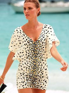 this is a dressy cover up.. I would need jewelry with full hair and make up done to wear this to the beach haha