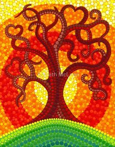Aboriginal style dot painting: autumn illuminated tree by Elspeth McLean Mandala Art, Mandala Painting, Aboriginal Dot Painting, Dot Art Painting, Stone Painting, Kunst Der Aborigines, Elspeth Mclean, Frida Art, Art Graphique