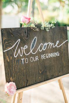chalkboard welcome to wedding sign
