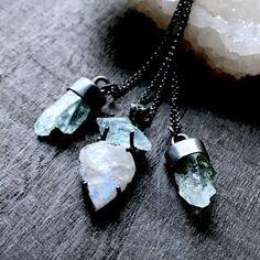 Aquamarine crystal necklace | Raw rainbow moonstone necklace | Apatite necklace | Raw stone necklace | Rough aquamarine stone by BrazilianMagick on Etsy www.etsy.com/...