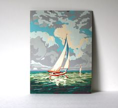 Vintage Sail Boat Paint by Number Painting 1 by vntagequeen, $32.00