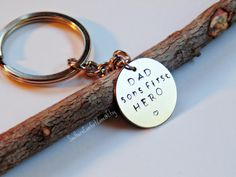 Fathers Day Key Chain  Gift for Dad Sons by SouthernComfortZone, $14.99 Fathers Day Key Chain - Gift for Dad Sons First Hero - Hand Stamped Accessory for Him - To Daddy From Kid - Birthday - Husband - Family Love