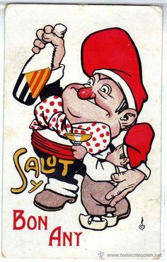 SALUT I BON ANY. Amb Patufet i Cu-Cut dibuixats per Cornet. Postal antiga