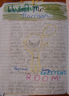 """6th grader--Morgan's--memories of the school year with me.  This was an entry for my annual """"Mr. Stick of the Year"""" notebook challenge: http://corbettharrison.com/GT/MrStickoftheYear.htm"""