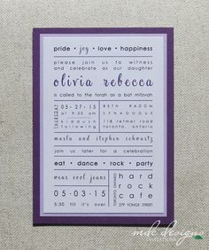 purple poster bat mitzvah invitation