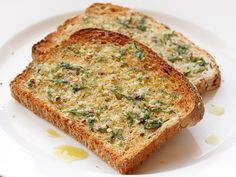 Toast drizzled with extra-virgin olive oil and sprinkled with parsley, garlic, and red pepper flakes #vegan
