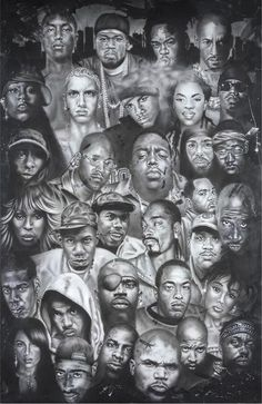 Hip Hop Artists Poster - Have you ever wanted to see the biggest names of hip hop all in one place? Now you can when you buy the Hip Hop Artists Poster! This black and white p