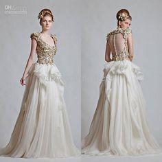 Wholesale A-Line Wedding Dresses - Buy 2013 Fall Scoop Golden Appliques A Line Cap Sleeve Wedding Dresses In Dubai Arabic Wedding Dress 2013...