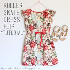 Handmade Frenzy: Roller Skate Dress Flip - TUTORIAL (use sleeveless dress pattern and add shoulder ruffle) Kids Patterns, Sewing Patterns Free, Free Sewing, Clothing Patterns, Free Pattern, Dress Patterns, Pattern Dress, Sewing Diy, Kids Clothes Patterns