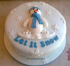 Snowman Cake by Creations By Paula Jane, via Flickr Christmas Cake Designs, Christmas Cake Topper, Christmas Cake Decorations, Christmas Cupcakes, Christmas Sweets, Holiday Cakes, Christmas Cooking, Xmas Cakes, Fondant Cakes
