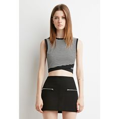 Forever 21 Striped Cross-Hem Crop Top (695 PHP) ❤ liked on Polyvore featuring tops, stripe top, stripe crop top, henley tops, cross tops y white sleeveless top