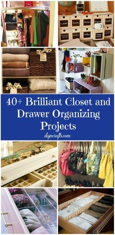 Lots of good inexpensive organization ideas. 40 Brilliant Closet and Drawer Organizing Projects – Page 2 of 8 – DIY &. Organisation Hacks, Closet Organization, Closet Storage, Kitchen Organization, Closet Organizer With Drawers, Closet Drawers, Bookshelf Closet, Organize Your Life, Organizing Your Home
