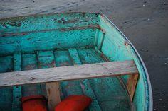 worn aqua boat