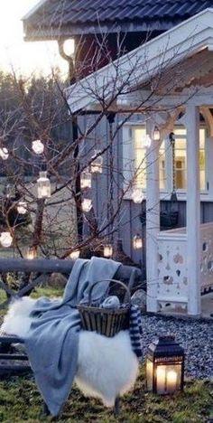 Colours of Fall *~~ Sweet Home, Outdoor Lighting, Outdoor Decor, Jolie Photo, Winter Garden, Garden Inspiration, Outdoor Spaces, Beautiful Homes, Backyard