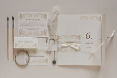 gold and white wedding invitation collection Place Cards, Wedding Invitations, Place Card Holders, Gold, Collection, Wedding Invitation Cards, Wedding Invitation, Wedding Announcements, Wedding Invitation Design