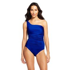 Women's One Shoulder One Piece Swimsuit Blue S - Cleanwater, Size: Small