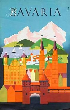 Bavaria | Vintage travel poster | European travel #Posters #Vintage #Affiches #Carteles #Retro # Ads #Europe #deFharo #Travels #Germany