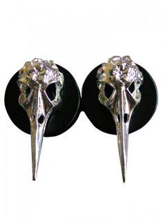 """Bird Skull"" Plugs by Fearless Plugs #inked #inkedshop #inkedmagazine #jewelry #plugs"