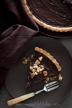 Gluten-Free Chocolate Date Caramel Walnut Tart