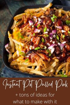 An easy recipe for the best damn Instant Pot Pulled Pork ever! Plus so many ideas for what to do with it! Make tacos, nachos, loaded fries, sliders, grilled cheese, mac and cheese, and more. Learn what cut of meat to buy, how to shred it, and even what sides to serve it with. You won't find a better pulled pork recipe or more tips and tricks than right here! #instantpotpulledpork #pulledporkrecipe #thewickednoodle Barbecue Pulled Pork, Pulled Pork Tacos, Pulled Pork Recipes, Bbq, Healthy Dinner Recipes, Vegetarian Recipes, Nachos Loaded, Pork Nachos, Making Pulled Pork