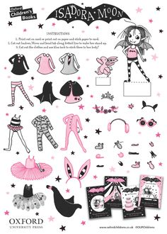 Victoria Stitch: Isadora Moon dress up doll and other things Moon Activities, Craft Activities, Crafts To Make, Crafts For Kids, World Book Day Ideas, Moon Costume, Moon Crafts, Moon Book, Moon Drawing