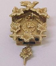 Vintage 14k Yellow Gold Coo-Coo Clock Charm - Moves