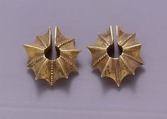 Pair of Ear Clips in the Shape of a Starfruit Period: Central Javanese period Date: 8th–early 10th century Culture: Indonesia (Java) Medium: Gold