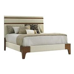 Tommy Bahama Home Island Fusion Mandarin Upholstered Panel Bed 5/0 Queen