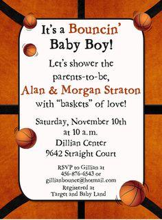 Bouncinu0027 Basketball Baby Shower Invitation