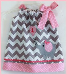 Super Cute Gray Chevron Stripe and Pink Polka dot Birthday Elephant with Balloon applique dress-birthday.elephant,applique,chevron,gray ,pink