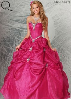 Hot Pink Quinceanera dress ~ Quinceanera dresses from Q by Davinci #quince XV años. Available in Dark Fuchsia, Lavender, White
