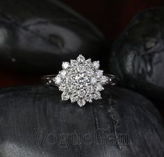 VogueGem Solid 14K White Gold Cluster Flower .88ct H/SI Diamond Engagement Wedding Ring
