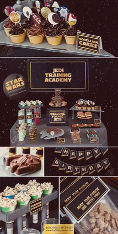 $25, Star Wars Party - Classic Saga Printable Birthday Party Decorations - Gold Yellow Black - COMPLETE SET. $25.00, via Etsy.