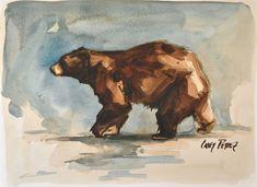 Black Bear Painting Watercolor Original 9x12. $60.00, via Etsy.
