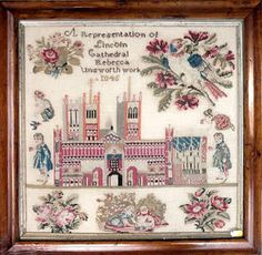 A Beautiful 19th Century English Sampler Stitched By Rebecca Unsworth & Dated 1845 ~ Lincoln Cathedral