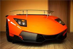 Furniture, Awesome Lamborghini Unique Racing Desk Design With Metallic Orange Color And Glass Table Top Ideas: Desk unique design ideas for interesting work space and modern