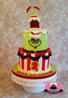 You're a Mean One, Mr. Grinch!  Belated Christmas birthday cake.  - Cake by Cakes ROCK!!!