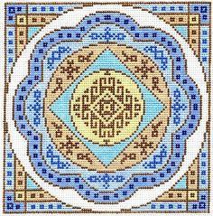 "Spiritual needlepoint - Mandala, hand-painted, 7"" x 7"" on 13 mesh canvas, Made in Sedona, Arizona"