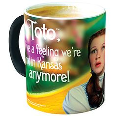 Celebrate the 75th anniversary of The Wizard of Oz!  Add hot liquid and watch as this 11-oz. ceramic mug slowly morphs from black to reveal a full-color, wrap-around image of Dorothy, Toto, and the classic quote from the movie!