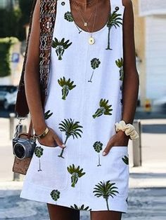 Bohemian Printed Drawstring Sleeveless Plus Size Dresses Robes Dos Nu Maxi, Mini Dress With Sleeves, Casual Summer Dresses, Chic Dress, Pulls, Plus Size Dresses, Dress Patterns, Ideias Fashion, Clothes For Women