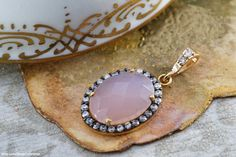 """Pink chalcedony gemstone pendant from Orbrume's """"Romance"""" sweet jewelry collection"""