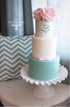 A stunningly simple 3-tiered wedding cake with a chevron pattern insert, white chocolate ganache and white chocolate fondant that conceals the delicious white raspberry cake within. {Created by: Three Little Blackbirds Cakes}