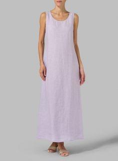 MISSY Clothing - Linen Scoop Neck Sleeveless Long Dress