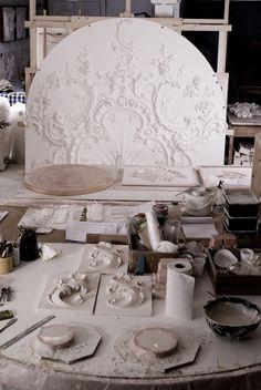 Geoffrey Preston studio & tool of the trade http://www.elizabethmachinpr.com/geoffrey-preston-plasterworks.html