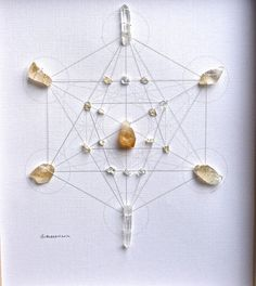 INCREASE PROSPERITY CONSCIOUSNESS    framed sacred crystal grid  citrine --- quartz  metatron's cube