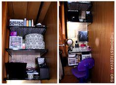 The Domestic Diva How-to: Makeup Vanity Inside a Closet Vanity Shelves, Closet Shelves, Make Up Storage, Diy Storage, Diy Makeup Vanity, Makeup Tips, Eye Makeup, Small Bathroom Tiles, Bathroom Ideas