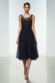 Amsale Bridesmaids Spring 2016 -  Lace/Tulle G952 shown in Navy