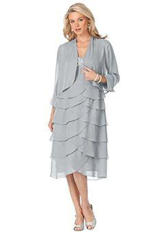 SL Fashions Plus Size Sleeveless Embellished Tiered Dress and ...